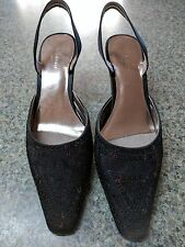 LIZ CLAIBORNE FLEX shoes sequin black size 9 Medium 2.5 in heels slingbacks 8753