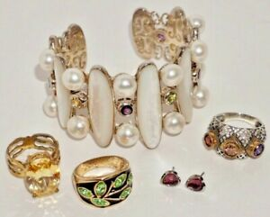 Ross - Simons Sterling Bracelet Pearl MoP Semi Gemstone + Rings Earrings Bronze