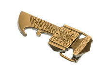 "Solid Brass Belt Buckle, Bartka/Ax, Hutsul Ukrainian, Symbol,  4"" X 1 1/2"""