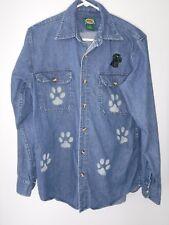 Cabela's~Jean Button Up Shirt~Unisex~Black Labrador~Custom Sandblasted Paws~Sz M