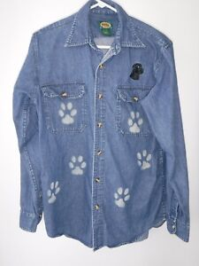 Cabela's~Jean Button Up Shirt~Unisex~Black Labrador~Custom~Womens Paws~Sz M