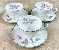 SET OF 3 - Zylstra Rose Vintage MCM Fine China - Cups and Saucers