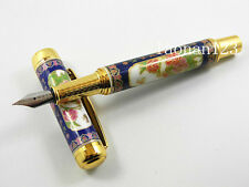 Chinese Blue and White Porcelain Metal Golden Trim M Nib Fountain Pen