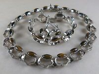 Vintage Taxco Sterling Necklace, Bracelet, Earrings Mexico AAR 160.8g [2719]