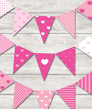 PINK HEARTS BUNTING - PLAY ROOM/BEDROOM/BIRTHDAY-18 PRETTY FLAGS!!
