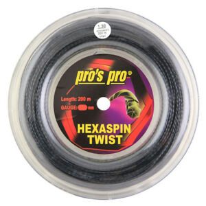 Pro's Pro Hexaspin Twist - 1.30mm - Black - Tennis - String - Reel - 200m