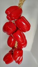 Retro Farmhouse Style Vintage Kitchen Ceramic Red Peppers On Burlap String