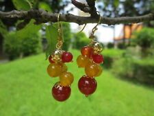 Carnelian Citrine Earring Cluster Earrings Red Yellow Gemstone Dangle Earrings