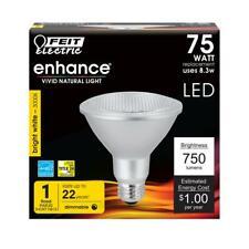 FEIT 75W 75 Watt Flood PAR30 LED Dimmable Short Neck Light Bulb Bright White