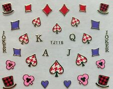 Nail Art 3D Decal Stickers Cards Clubs Diamonds Hearts Spades Joker Aces TJ116