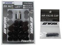 WORK Lug Lock nuts set for 5H 12x1.5 and 4pcs Air Valve caps Black Value set