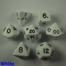 Opaque Poly 7 Dice RPG Set White Pathfinder 5e Dungeons Dragons D&D Role Play HD