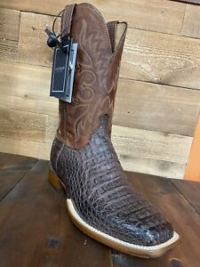 Lucchese Men's Square Toe Size 9.5 EE horseman boot  hornback caiman leather