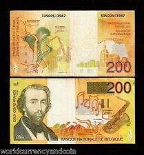 BELGIUM 200 FRANCS P148 1995 EURO A SAX SAXOPHONE WORLD CURRENCY MONEY BILL NOTE