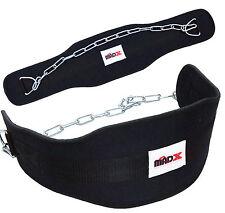 Madx Levantamiento Pesas Dipping Chapuzón Cinturón Neopreno con cadenas, SIN