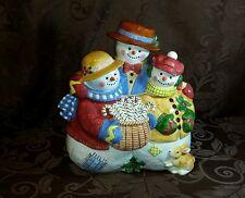 Home Style Ceramics Susan Winget Large Snowman Family Cookie Jar Let It Snow
