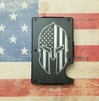 Laser Engraved Spartan helmet american flag  RFID tactical wallet