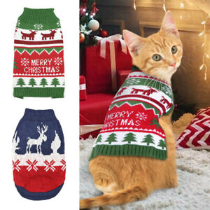 Christmas Cat Jumper Sweater Winter Knitted Chihuahua Clothes Turtleneck Costum