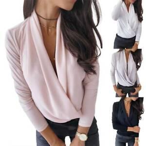 Damen Wickeln Shirt Langarm Freizeit V-Ausschnitt Bluse Tops Slim Fit Oberteile
