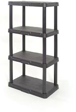 4 Tier Black Plastic Freestanding Storage Organizing Shelf Durable Indoor Garage