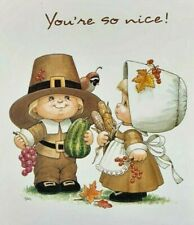 VTG THANKSGIVING Ruth J Morehead Gibson Greeting Card 1998 Blessed Are Ye UNUSED
