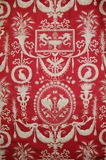 French fabric antique red toile design gray STUNNING for upholstery, pillows etc