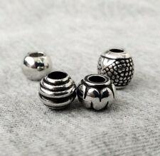 4 pcs dread beads set, silver dreadlock beads set, chrome loc jewelry