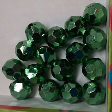 15 METALLIC GREEN CRAFT BEADS ROUND FACETED 15mm