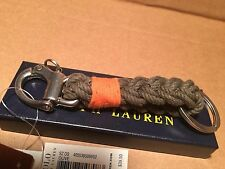 NWT Ralph Lauren Snap-Shackle Braided Olive Nautical Anchor Marine Key Ring Fob