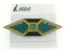 Green & Black Enamel - Silver Tone Brooch Pin - Signed Reo - Geometric -