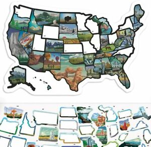"""RV State Sticker Travel Map - 11"""" x 17"""" - USA States Visited Decal - United"""
