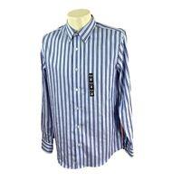 Banana Republic Men's Tailored Slim Fit Non Iron Blue Stripe NWT Shirt Medium