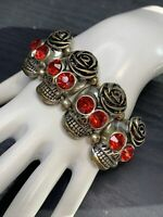 Ladies Red Glass Rhinestone Gold  Tone Biker Harley Rider Skull Stretch Bracelet