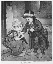"""Tierarzt, der kleine Doktor untersucht  """"krankes"""" Kätzchen, Orig.-Holzstich 1898"""