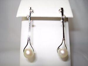 14K diamond pearl earring