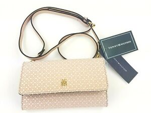 Tommy Hilfiger TH Signature Pink Crossbody Trifold Wallet Purse NWT MSRP $68