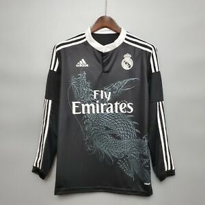 2014-15 Real Madrid Black Long Sleeve Retro Soccer Jersey