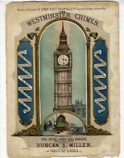 BIG BEN COLOR LITHOGRAPH Sheet Music c.1860 The Westminster Chimes BRITISH