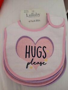 Baby Girl 4pk Pink Heart Slogan Bibs. New