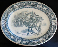 "WEDGWOOD IVANHOE OVAL PLATTER 15"" BLUE/GRAY Prince John & Locksley c.1884"