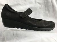 Munro Pia Black Nubuck Leather Mary Jane Wedge Walking Shoes Womens 6.5 M Casual