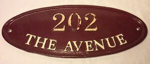 """Painted Cast Iron """"202 The Avenue"""" House Sign Plaque"""