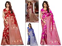 Saree Sari Indian Bollywood Designer Women Banarasi jacquard Silk Ethnic Sari SS