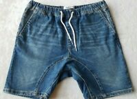 QUIKSILVER Phonic Blue Denim Shorts Size S Drawstring Pockets Jogger Style