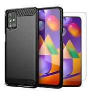 For Samsung Galaxy M31s Case Carbon Fibre Cover & Glass Screen Protector