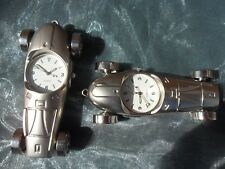 *RACING CAR CLOCK*  length 8cms CHROMED STEEL QUARTZ MOVEMENT