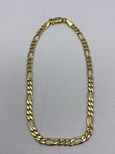Solid 9ct Yellow Gold Mens 4mm Figaro Link Bracelet 8.5 inch