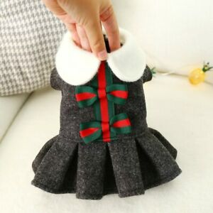 School Style Pet Dress for Small Dogs Cats Winter Dog Clothes for Maltese