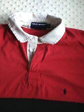 Vintage Ralph Lauren Polo Sport Mens Rugby Short Sleeve Sz XL Red Black Stripe
