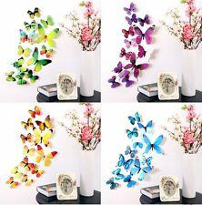 adesivo parete Farfalle 3D KIT 12 pezzi decorative wall sticker mix colori muro